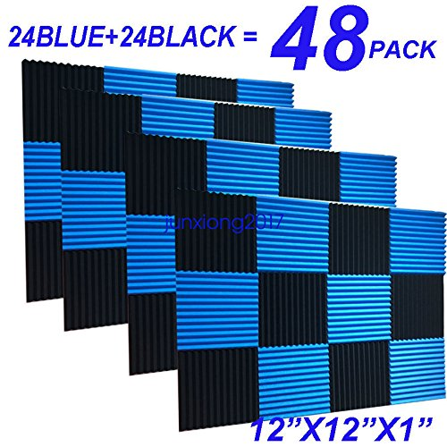 48 Pack Black/BLUE 12X 12X1 Acoustic Panels Studio Soundproofing Foam Wedge Tiles, HPKL9999