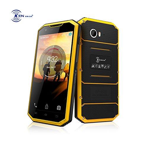 Kenxinda W7 Rugged Unlocked 4G LTE Smartphone Waterproof Shockproof 16GB Quad Core MTK6735 8MP Camera GSM Military Grade Cellphone (Yellow) by KEN XIN DA