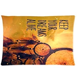 Hipster Dream Catcher Fashion Design Zippered Pillowcase Pillow Cases Cover 20*30 inches Standard Size Cloud Feather Catcher Keep Your Dreams Alive Quotes