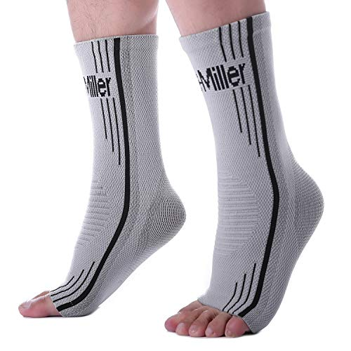 Doc Miller Premium Ankle Brace Compression Support Sleeve for Plantar Fasciitis Achilles Tendonitis Injury Recovery Joint Pain Swollen Feet Socks Foot Tendon Ligament Fractures (Solid Gray, Medium)