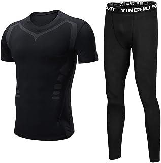 Men's Compression Pants Baselayer Cool Dry Sports Tights Leggings+Short Sleeve T-Shirts 2Pcs Set
