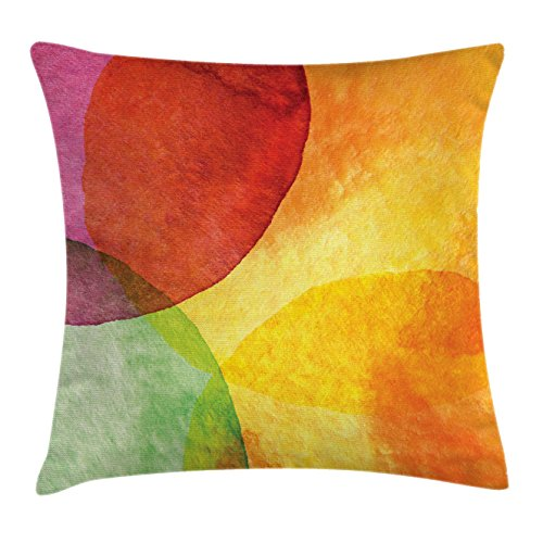 Ambesonne Abstract Throw Pillow Cushion Cover, Abstract Watercolor Painted Paper Style in Modern Art Design Print, Decorative Square Accent Pillow Case, 18 X 18 Inches, Yellow Orange Lime Green by Ambesonne