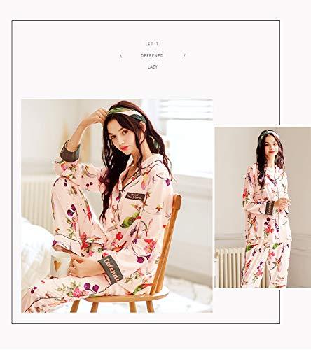 Larga Hielo Servicio Solapa A Seda Manga Piezas 2 Domicilio Mujer Conjunto Para M Baujuxing Pijamas Xxl De Simulación 6EnZqP