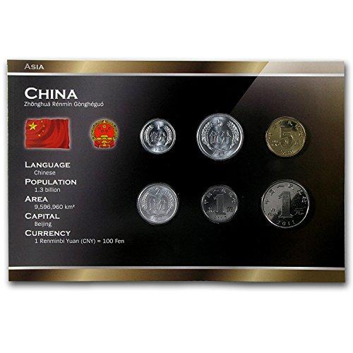 Coins Set: 1, 2, 5 Fen, 1, 5 Jiao, 1 Yuan 1955-2010 UNC ()