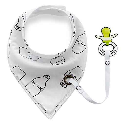 iZiv Baberos del Bebé - Paquete de 4 Diseños Pañuelo con Snaps Ajustables Clip de Chupete , TPU Impermeable Guarnición para niño 0-2 años (Color-7) Color-3