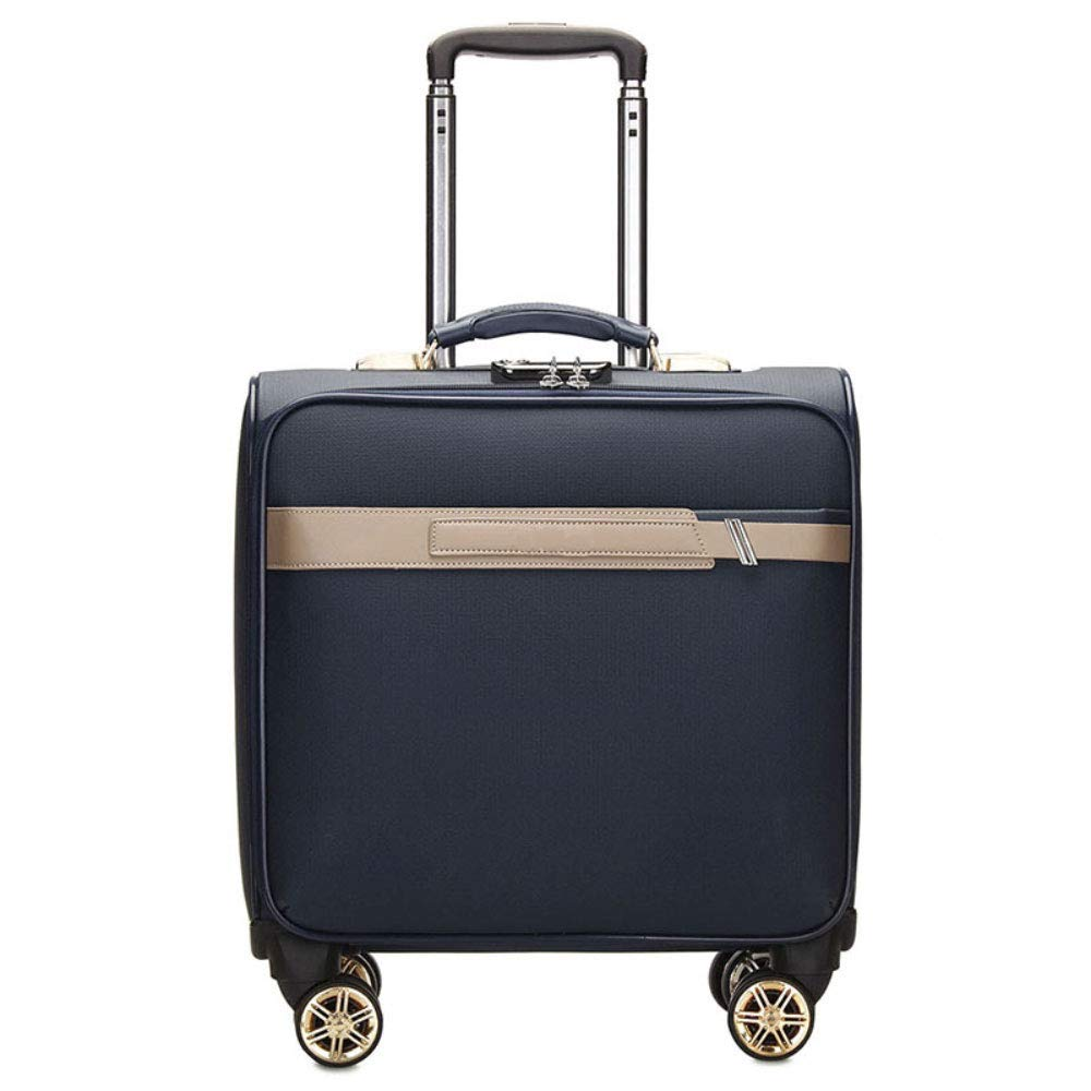 新しいファッションPUトロリーケース17インチのスーツケースビジネストラベルミュートキャスタートロリーケース (Color : エレガントブルー)   B07R5QRHNC