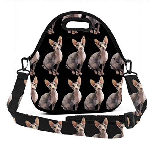 (Premium Neoprene Thermal Insulated Sitting Sphynx Cat Black Lunch Bag Tote Bag, Reusable Outdoor Compact Lunchbox With Zipper Closure For Men And Women, Easy To)