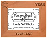 Custom Baseball Gift Add Text Year Personalized Natural Wood Engraved 5×7 Landscape Picture Frame