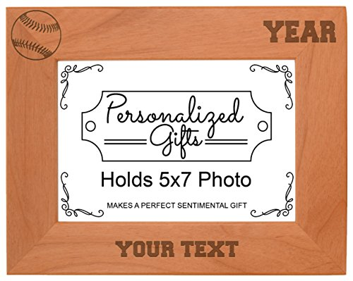 (Custom Baseball Gift Add Text Year Personalized Natural Wood Engraved 5x7 Landscape Picture Frame)