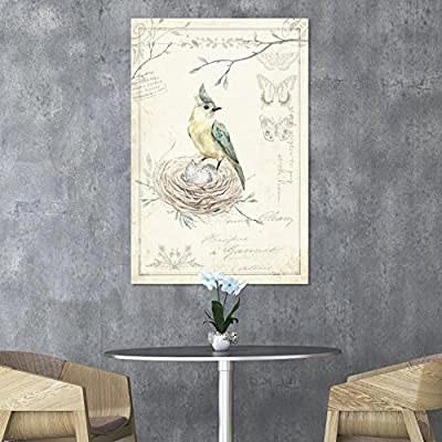 Canvas Wall Art - Vintage Style Bird in its nest Floral Background - Giclee Print Gallery Wrap Modern Home Art Ready to Hang - 12x18 inches