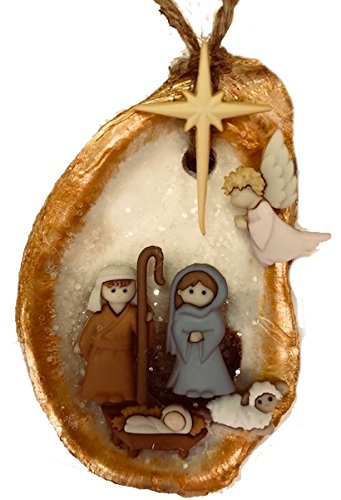 oyster shell christmas ornament nativity manger scene new orleans religious gift jesus beach souvenir natufical decor