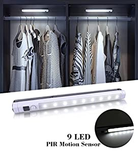 [Upgraded]VIBELITE 9 LED Motion Sensing Closet Lights, 2 Pack DIY Stick-on Anywhere Portable 9-LED Wireless Cabinet Night/ Stairs/ Step Light Bar with 360° Rotated Sensor (Battery Operated)