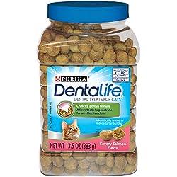 Purina DentaLife Savory Salmon Flavor Adult Cat Dental Treats - (1) 13.5 oz. Canister
