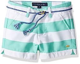 Tommy Hilfiger Little Girls\' Rugby Stripe Short with Rope Belt, Cabbage, 5