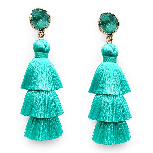 Turquoise Tassel Tassle Earrings Drop Dangle Fashion Statement Lightweight 3 Layered Long Thread Tassel Fringe Earrings Stud for Women Girls