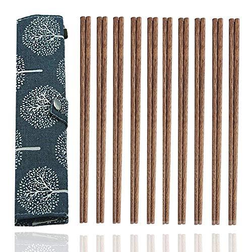 10-Pairs Reusable Wooden Chopsticks Set, Travel Chopsticks with Case Reusable Chinese Korean Japanese Bamboo Portable Chopsticks Utensil Dishwasher Safe