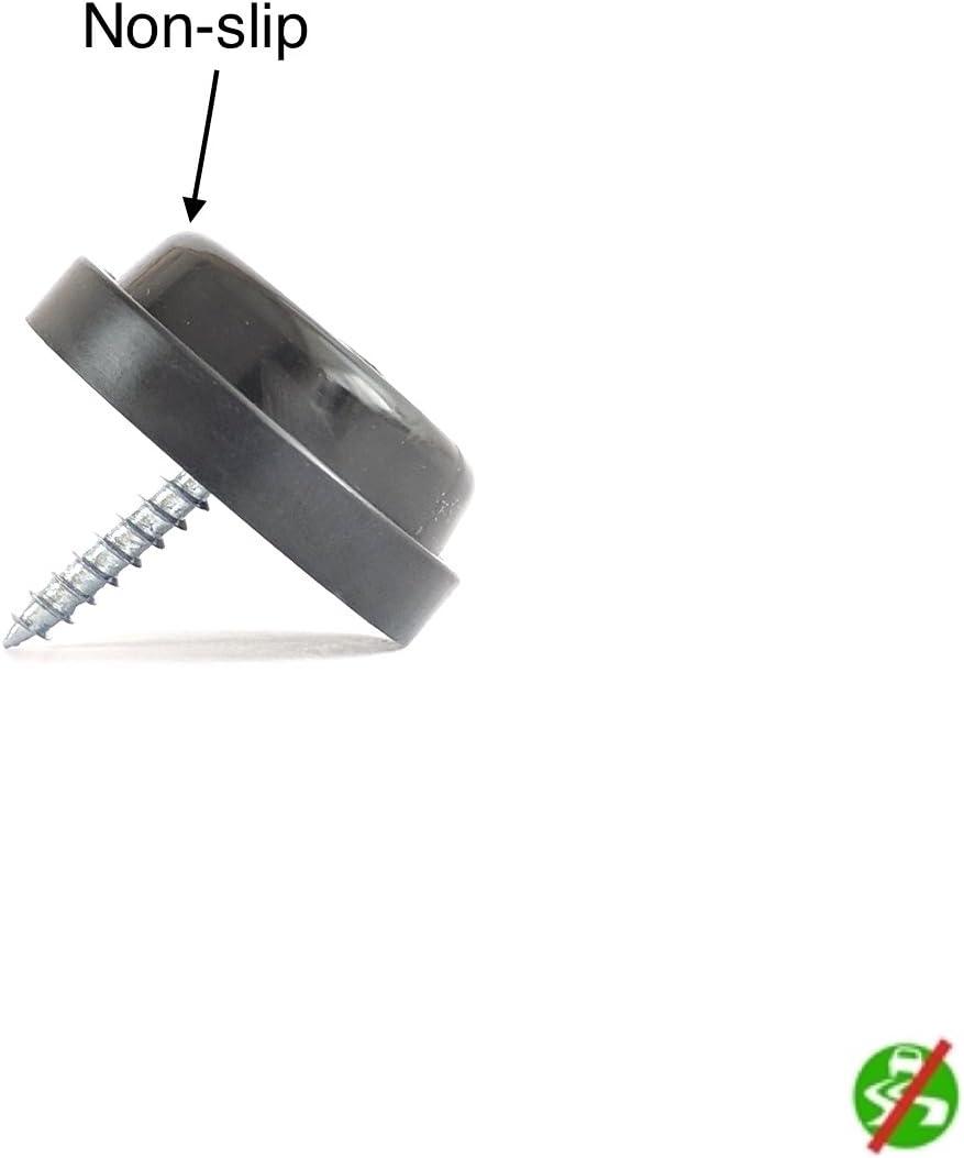 Varios Tama/ños y Colores Disponibles Hecho en Alemania Marr/ón, redondo 24mm di/ámetro - paquete de 12 Tap/ón Para Mueble Pie de Goma Antideslizante con Tornillo
