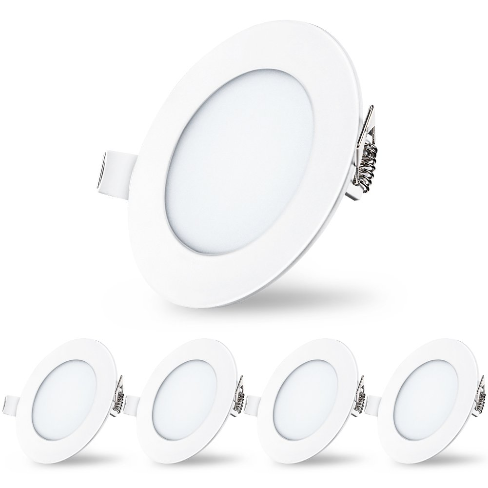 Led Panel Lights, Recessed Downlight Dimmable 6.7 inch, Round Panel Lights Warm White, Ceiling Flat Spotlights for Bathroom Hallway Stage Office Pack of 5 (12W 5000K) [Energy Class A++] TryLight