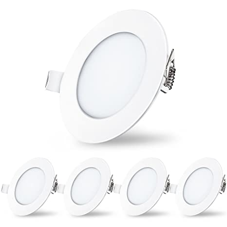 check out 59895 2e01e LED Recessed Lights, Downlight Dimmable Round Panel Lights, Ceiling Flat  Spotlights for Bathroom Hallway Stage Office Pack of 5 (5000K Cool White, 6  ...