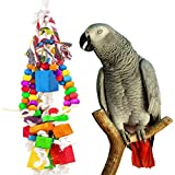 MEWTOGO Amazon Parrot Toy - Multicolored Wooden Blocks and Rope Tearing Toys Suggested for African Grey Cockatoos, and a Variety of Amazon Parrots. Larger Image