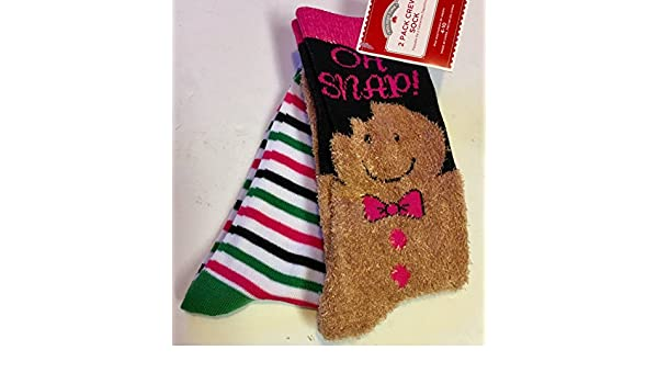 Oh Snap Gingerbread Christmas Crew Socks 2pk Size 4-10 at Amazon Womens Clothing store: