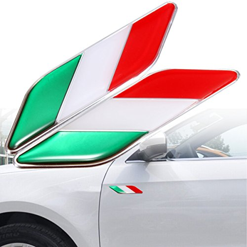 CALAP-STORE - Pair 3D Italian Italy Flag Stickers Badge Emblems Decal Decor For Ferrari/Fiat Car by CALAP★STORE