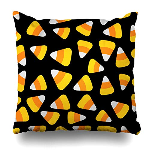 Ahawoso Throw Pillow Cover Orange Pattern Candy Corn Happy Flat Art Yellow Big Celebration Color Cone Design Zippered Pillowcase Square Size 16 x 16 Inches Home Decor Pillow Case -