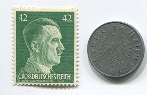 Rare Nazi Swastika 10 Reichspfennig German Coin World War Two WW2 with Jumbo Green Hitler Head Stamp MNH