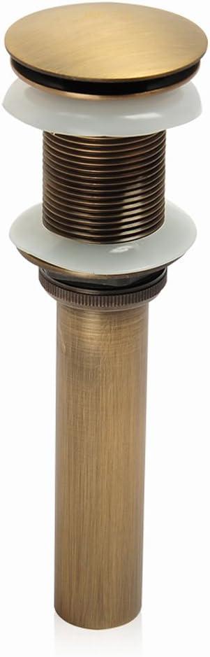 KUNGYO Fregadero para lavabo sin ranura Empujar para elevar Haga clic en Tapón para desecho Clack Tapón para desagüe sin desbordamiento Terminado (Amarillo)
