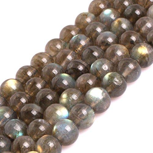 - GEM-inside AA Grade Natural 8mm Blue Rainbow Flash Gray Labradorite Gemstone Beads for Jewelry Making Loose Beads 15