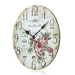 Round Wall Clock, Augue Round Wood Wall Clock Colorful Vintage France Paris Country Tuscan Style Home Kitchen MDF Clock Gift,12-inches