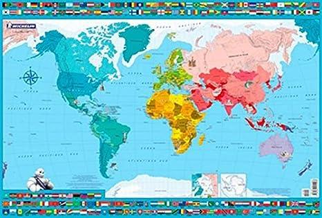 Carte Du Monde Sous Mainavec Pays Et Capitales Imprimés Dimension 40 X 60 Cm Impression 2016