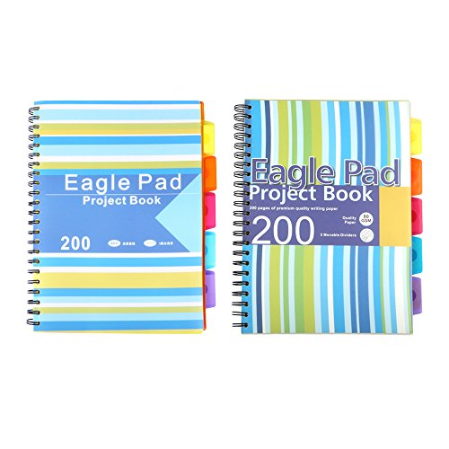 Eagle A4 Wirebound 5 Subject Notebook, Ruled,11.6 x 8.3 Inch, 200 sheets, 2 Patterns, Random Delivery (Blue) (Books Subject Divider)