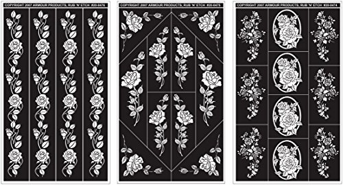 Armour Products Rub 'n' Etch Glass Etching Stencils 5in. x 8in. 3/Pkg Rose Designs 12-7042 by Armour