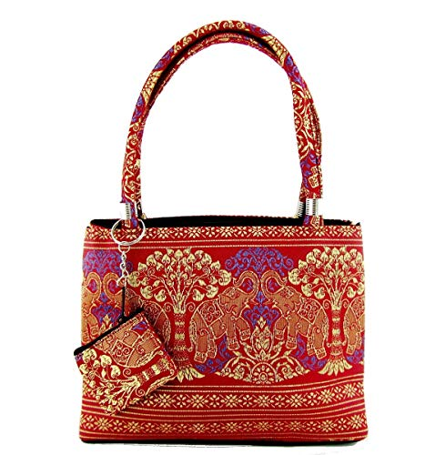 (Thai Silk Brocade Handbag for Women Small Handmade Purse from Thailand (Lucky Elephant Sangria Red))