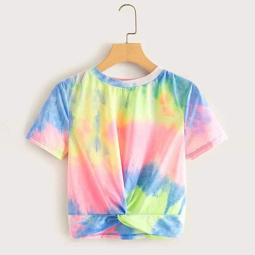 Tie Dye Crop Tops for Women Teen Girls Short Sleeve Twist Knot Shirts Summer Crewneck Tee T Shirt Blouse