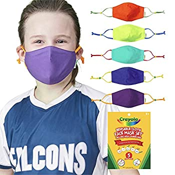 Crayola Children Face Masks – 5 Reusable Fabric Face Masks Set, Cool Colours, Again to College Provides