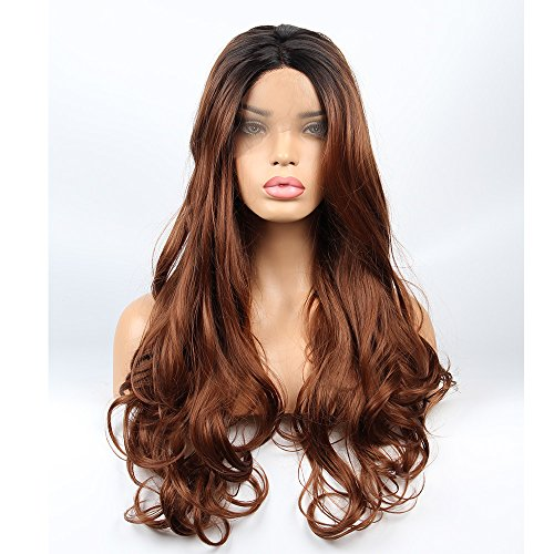 Auburn Dark Wig (vvBing Synthetic Long Lace Front Wigs Glueless Auburn 2 Tones Ombre Dark Roots to Brown Auburn Wig Wave Hair Heat Resistant Fibers Middle Parting With Natural Hairline 24inch)