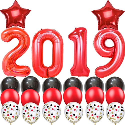 2019 Graduation Balloons-40 Inch Red 2019 Foil Balloons with Black Red Latex Balloons/Confetti Balloons-Pack of 24,for Class of 2019 -