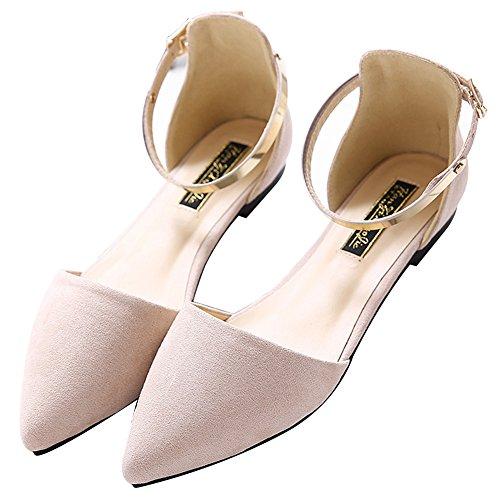 Escarpin Abricot Velours Pointu Habillées Jamron Femmes Élégant Bride Plat Ballerinas Chaussures Cheville D'orsay Bout xqS6pHTz