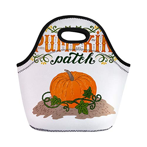 Semtomn Lunch Tote Bag Text Pumpkin Patch Halloween Sign Vintage Farm Fresh Advertise Reusable Neoprene Insulated Thermal Outdoor Picnic Lunchbox for Men Women