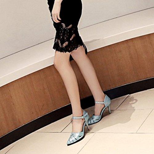 delgado Clasico Vestir Zapatos alto Azul Tacon COOLCEPT Fiesta Puntiagudo Sandalias Mujer qXUaW7xgw