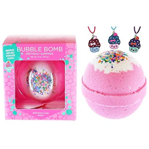 Girls Birthday Surprise Bubble Bath Bomb with Surprise Kids Necklace Inside  by Two Sisters Spa  XL Large Lush Fun Spa Fizzy Gift  99% Natural  Kid