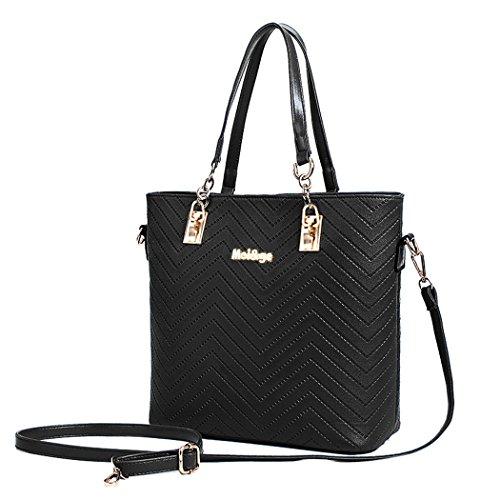 Crossbody and Purse Sets Bag Ladies Embossing Messenger Black Handbags Bag 6 Purses Women 8vq5gI5