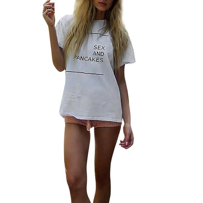 ❤️Koly Moda Algodón Mujer T-shirt Linda Redondo Verano Carta impresa Casual suelto Blusas