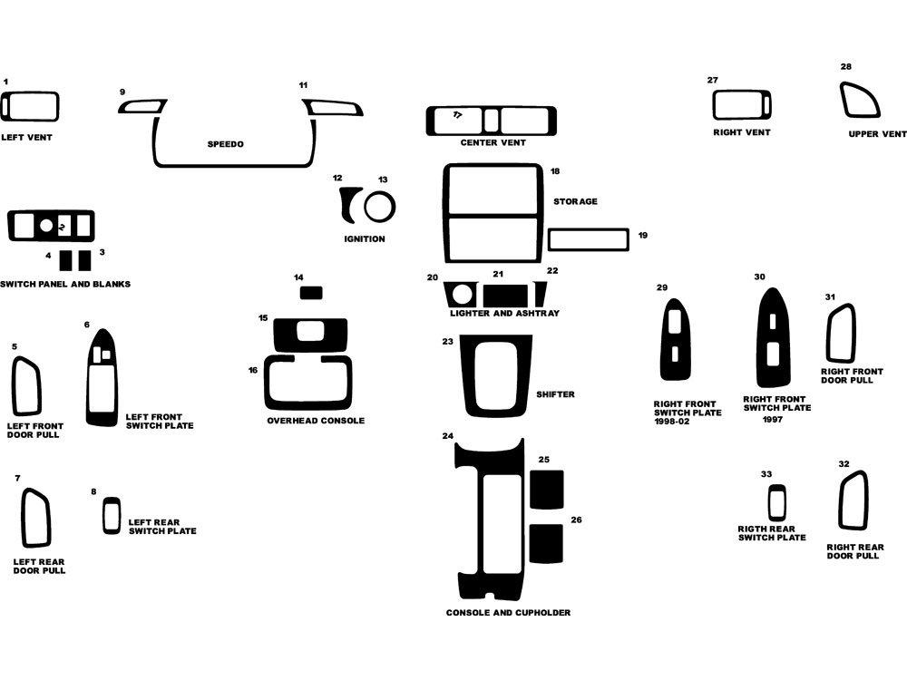 Rdash Dash Kit Decal Trim for Toyota Camry 1997-2001 - Wood Grain (Burlwood Dark) Rvinyl