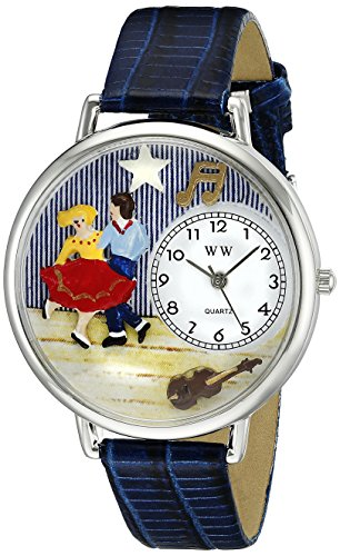 Whimsical Watches Unisex U0510006 Square Dancing Royal Blue Leather Watch