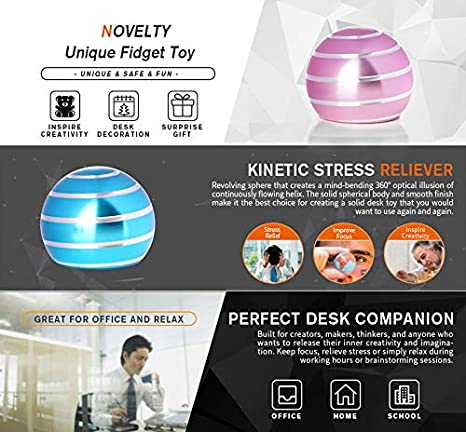 Silver DESDK Office Stress Relief Gadgets Metal Kinetic Spinning Desk Toy New Version Fidget Toy Ball for Adults /& Kids Anti Anxiety ADHD Autism Stress Reliever Inspire Creativity