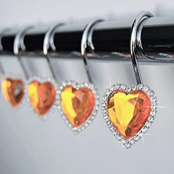 Shower Curtain Hooks Rings   Heart Orange Decorative Crystal Diamond Bling  Rhinestones Bathroom Bath Set Gift