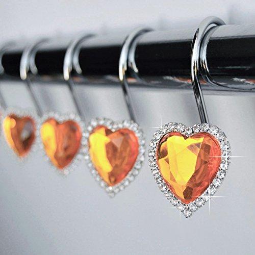 Shower Curtain Hooks Rings - Heart Orange Decorative Crystal Diamond Bling Rhinestones Bathroom Bath Set Gift Valentine Girl (Orange)